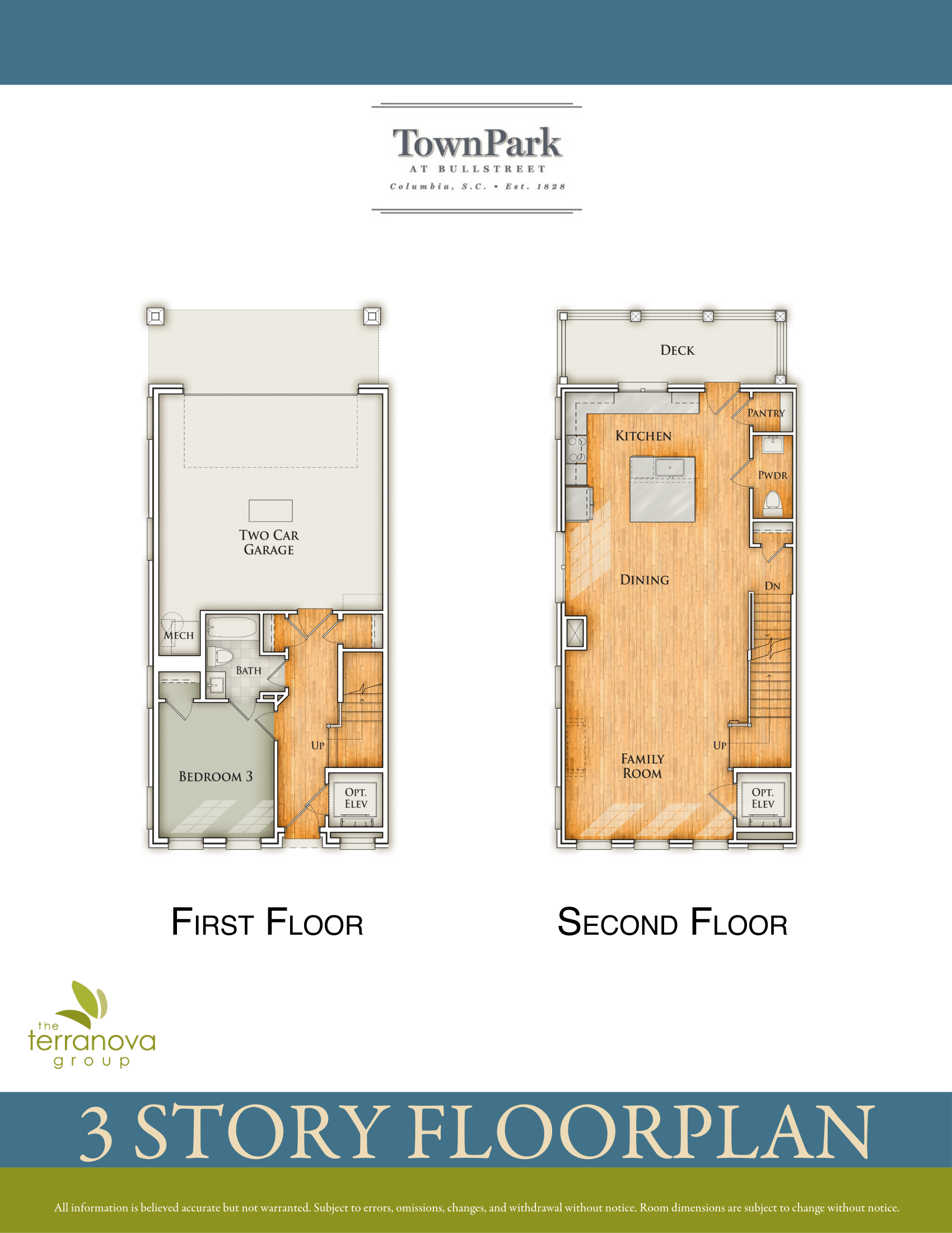 Three-Story Plan First & Second Floor