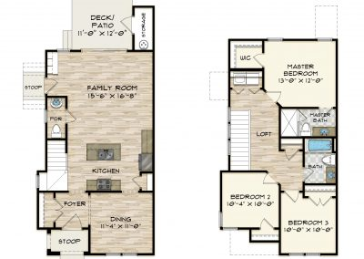 Three Story Townhome Floor Plan