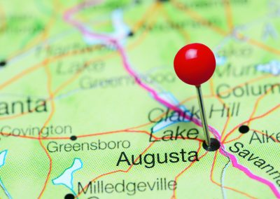 Augusta pinned on a map of Georgia, USA